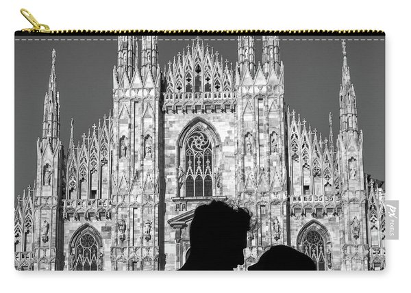 Silhouette Of Young Couple Kissing In Front Of Milan's Duomo Cathedral Carry-all Pouch