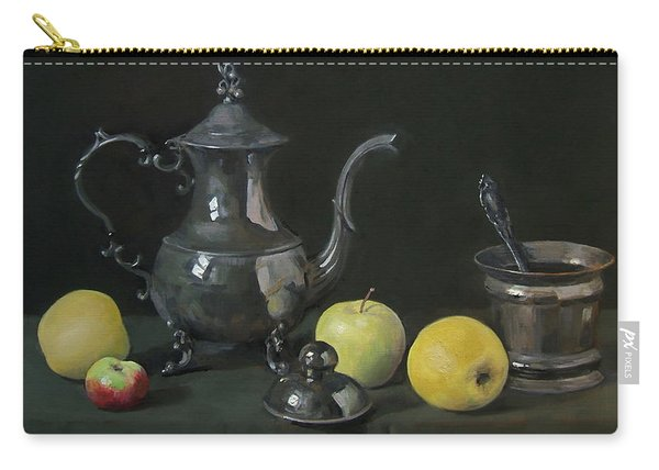 Silver Coffeepot, Silver Jar With Lid  And Apples Carry-all Pouch