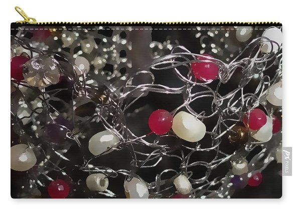 Silver Crochet Pearls And Rubies Carry-all Pouch