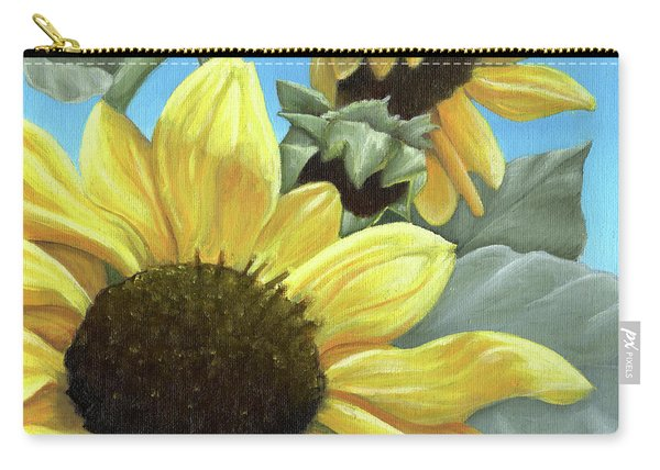 Silver Leaf Sunflower Growing To The Sun Carry-all Pouch