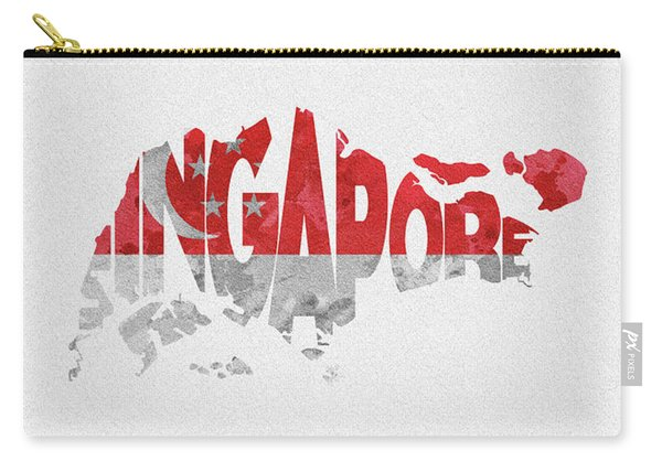 Singapore Typographic Map Flag Carry-all Pouch