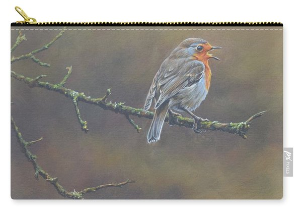 Carry-all Pouch featuring the painting Singing Robin by Alan M Hunt