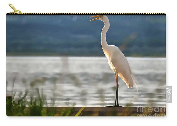 Singing White Egret Carry-all Pouch