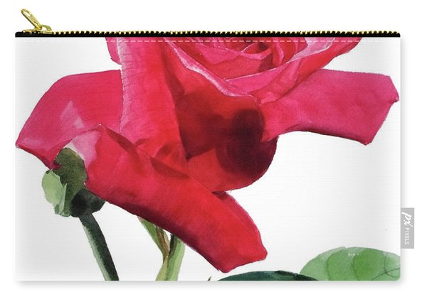 Single Bright Pink Rose Unfolding Carry-all Pouch