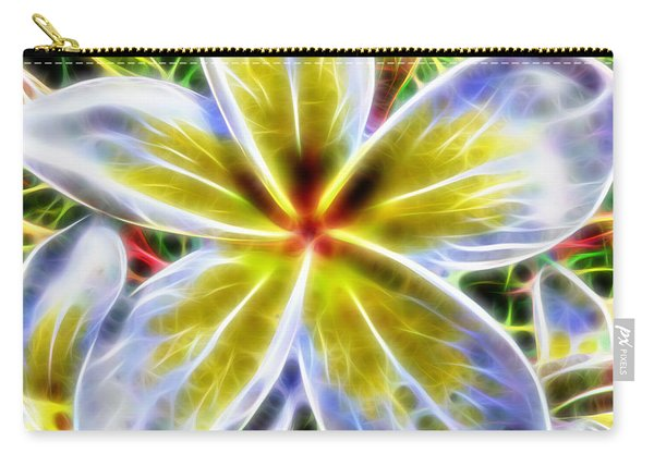 Single Fractal Frangipani Carry-all Pouch