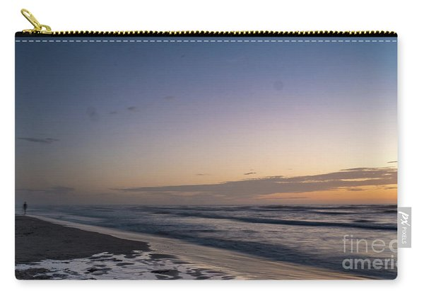 Single Man Walking On Beach With Sunset In The Background Carry-all Pouch