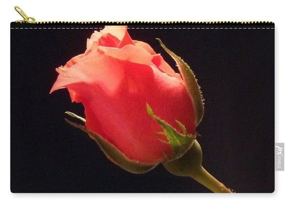Single Pink Rose Bud Carry-all Pouch