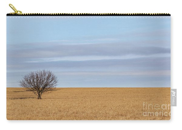 Single Tree In Large Field With Cloudy Skies Carry-all Pouch
