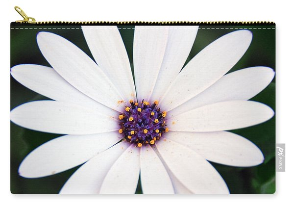 Single White Daisy Macro Carry-all Pouch