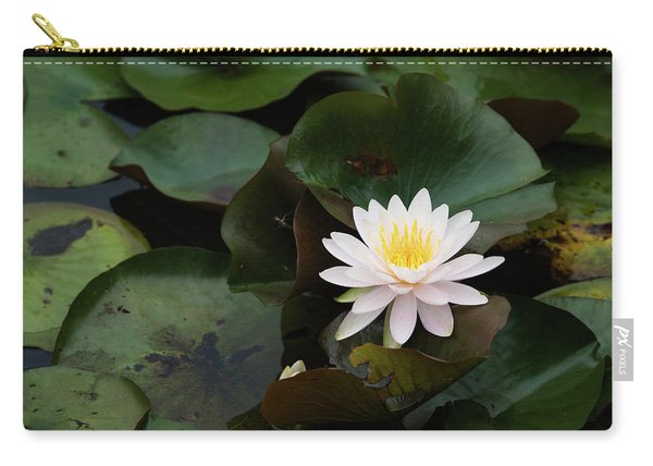 Single White Pristine Lotus Lily Carry-all Pouch
