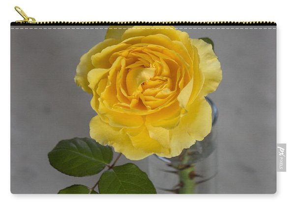Single Yellow Rose With Thorns Carry-all Pouch