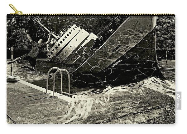 Sinking Into The Pool Black And White Carry-all Pouch