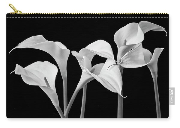 Six Calla Lilies In Black And White Carry-all Pouch