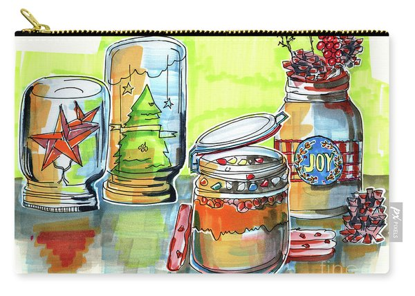 Carry-all Pouch featuring the drawing Sketch Of Winter Decorative Jars  by Ariadna De Raadt
