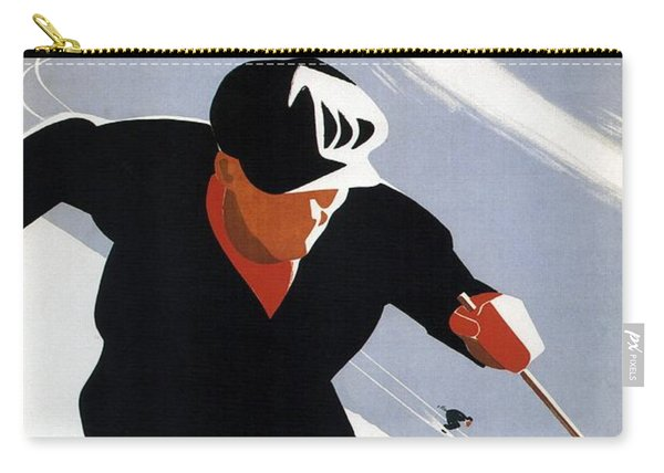 Skiing In The Canadian Rockies - Canadian Pacific - Retro Travel Poster - Vintage Poster Carry-all Pouch