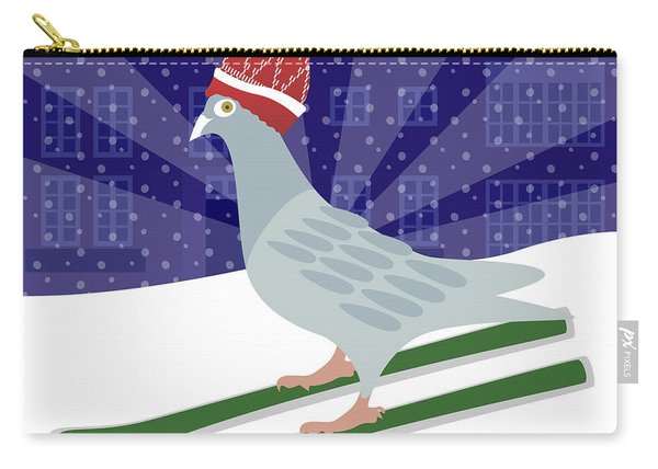 Skiing Pigeon Carry-all Pouch