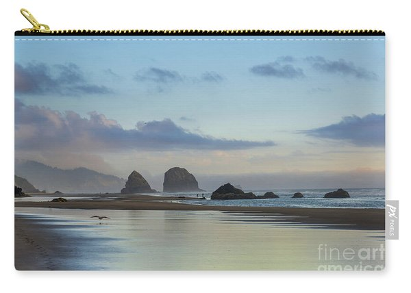 Skimming Along The Beach At Sunset Carry-all Pouch