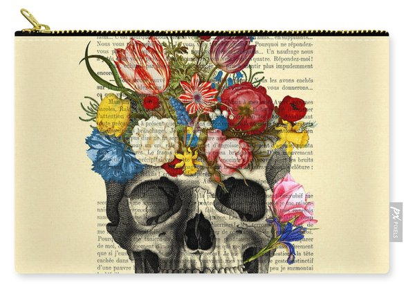 Skull With Flowers Vintage Illustration Carry-all Pouch