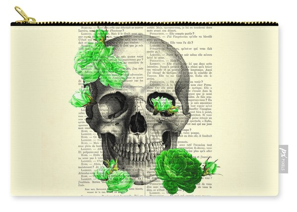Skull And Green Roses Illustration Carry-all Pouch