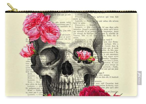 Skull And Pink Roses Carry-all Pouch