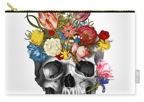 Skull With Flowers Carry-all Pouch