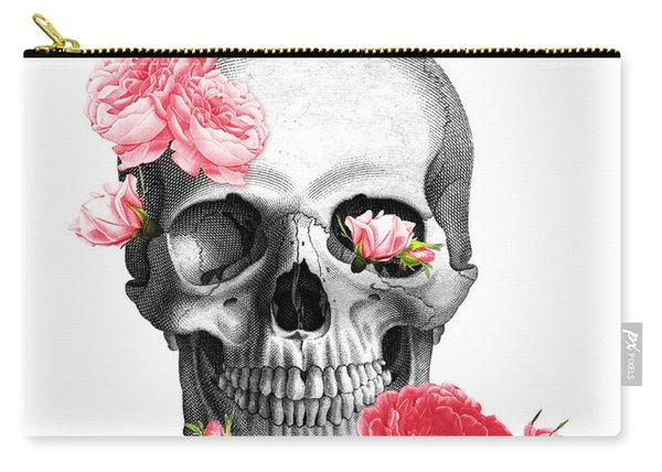 Skull With Pink Roses Framed Art Print Carry-all Pouch
