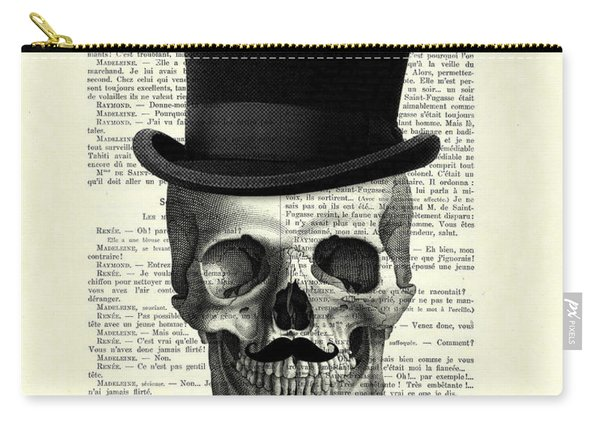 Skull With Top Hat And Moustache Carry-all Pouch