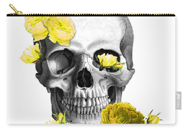 Skull Yellow Roses Carry-all Pouch