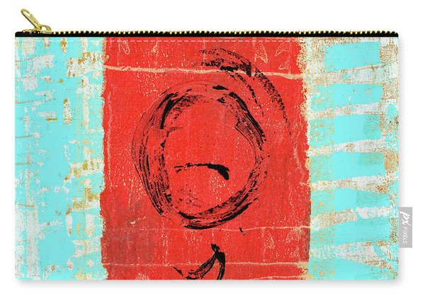 Sky Blue And Muted Red Abstract Carry-all Pouch