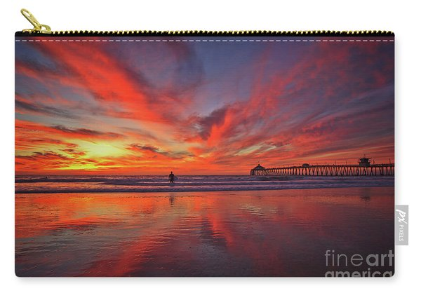Carry-all Pouch featuring the photograph Sky On Fire At The Imperial Beach Pier by Sam Antonio Photography