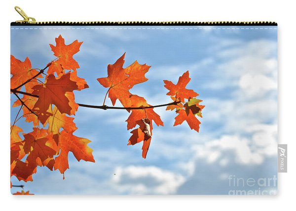 Sky View With Autumn Maple Leaves Carry-all Pouch