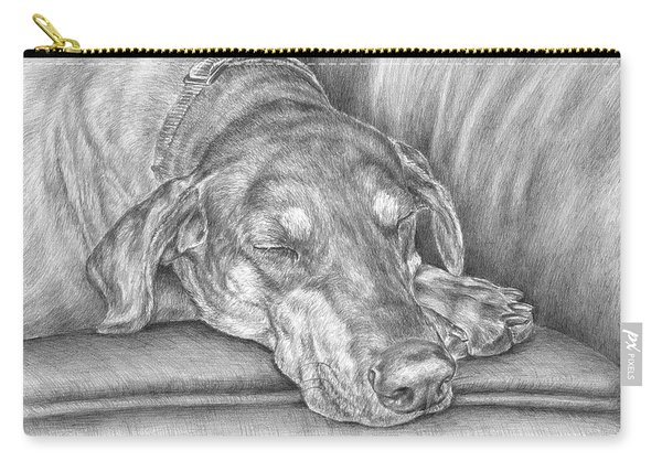 Sleeping Beauty - Doberman Pinscher Dog Art Print Carry-all Pouch