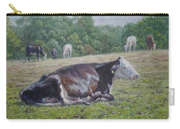 Carry-all Pouch featuring the painting Sleeping Cow On Grass On Sunny Day by Martin Davey