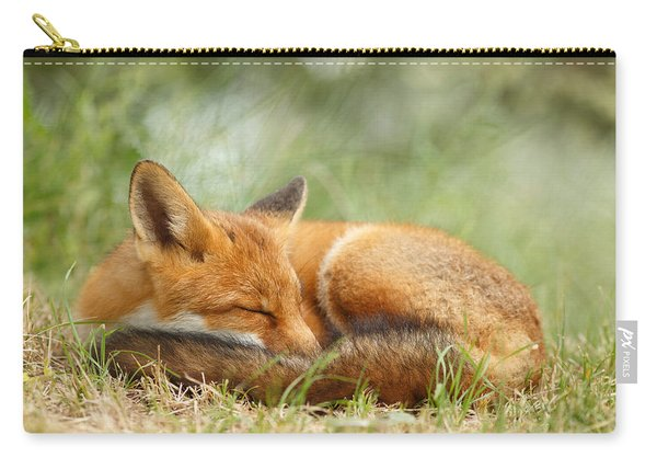 Sleeping Cutie - Red Fox In The Grass Carry-all Pouch