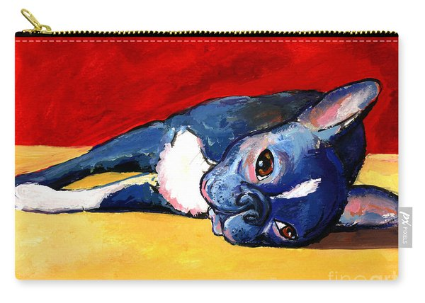 Sleepy Boston Terrier Dog  Carry-all Pouch