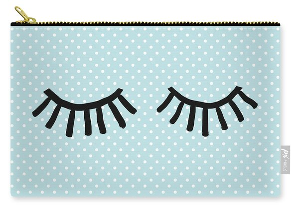 Sleepy Eyes And Polka Dots Blue- Art By Linda Woods Carry-all Pouch