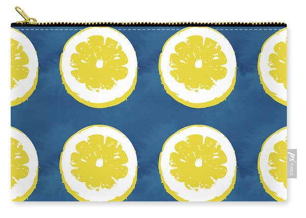 Sliced Lemons On Blue- Art By Linda Woods Carry-all Pouch