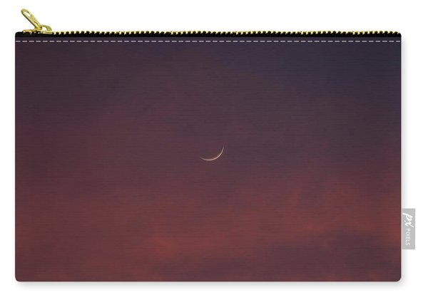 Sliver Moon Floating In A Pink Sky Over Venice Florida Carry-all Pouch
