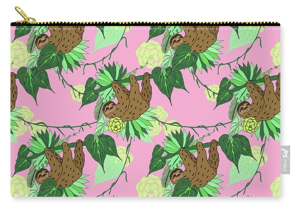 Sloth - Green On Pink Carry-all Pouch