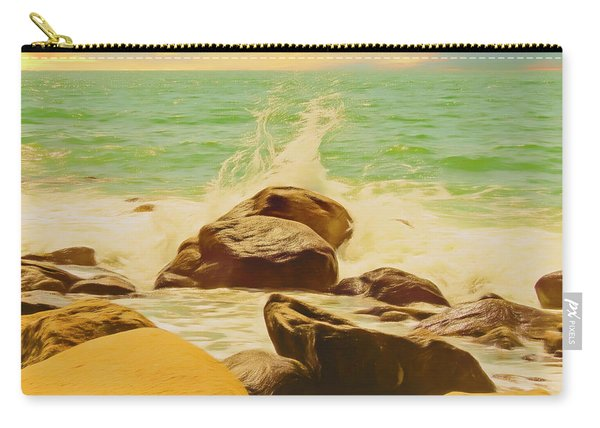 Small Ocean Waves,large Rocks. Carry-all Pouch