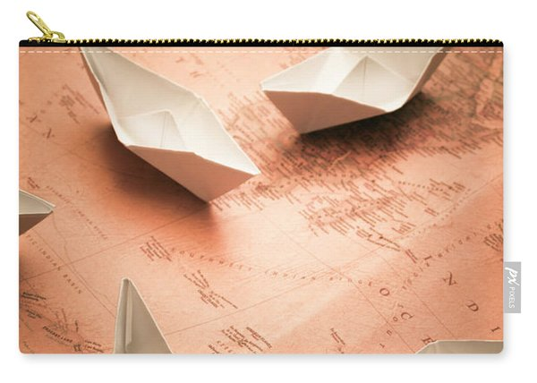 Small Paper Boats On Top Of Old Map Carry-all Pouch
