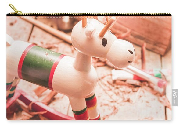 Small Xmas Reindeer On Wood Shavings In Workshop Carry-all Pouch