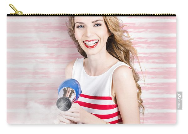 Smiling Stylist With Hair Dryer At Beauty Salon Carry-all Pouch