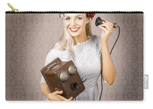 Smiling Vintage Woman Hearing Good News On Phone Carry-all Pouch