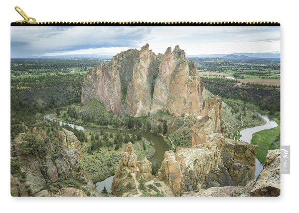 Carry-all Pouch featuring the photograph Smith Rock From Misery Ridge by Tim Newton