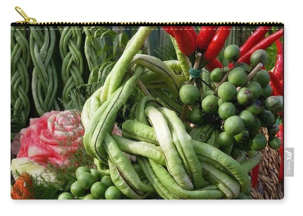 Carry-all Pouch featuring the photograph Snake Beans. At The Surin Elephant by Mr Photojimsf