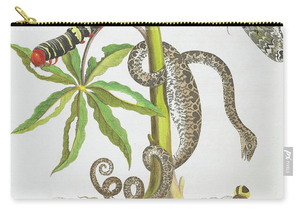 Snake, Caterpillar, Butterfly, And Insects On Plant Carry-all Pouch