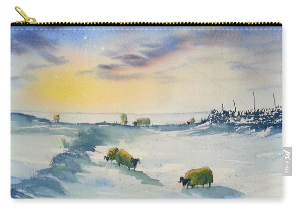 Snow And Sheep On The Moors Carry-all Pouch