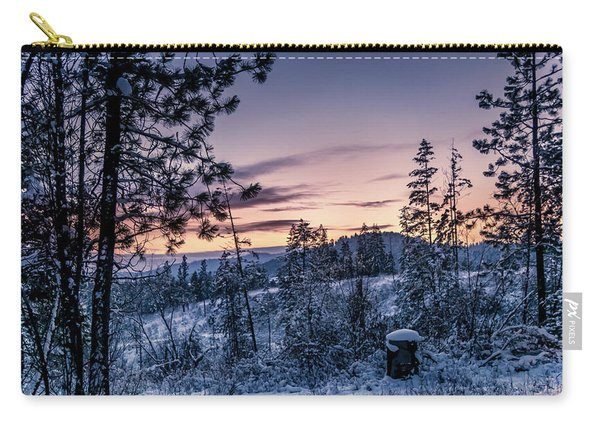 Snow Coved Trees And Sunset Carry-all Pouch