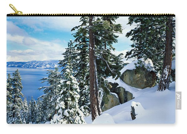 Snow Covered Trees On Mountainside Carry-all Pouch